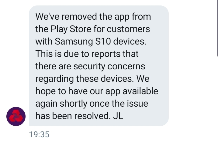 Samsung Galaxy S10 ban from bank apps