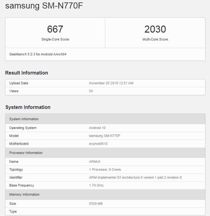 Samsung Galaxy Note 10 Lite Exynos 9810 S Pen 6GB RAM