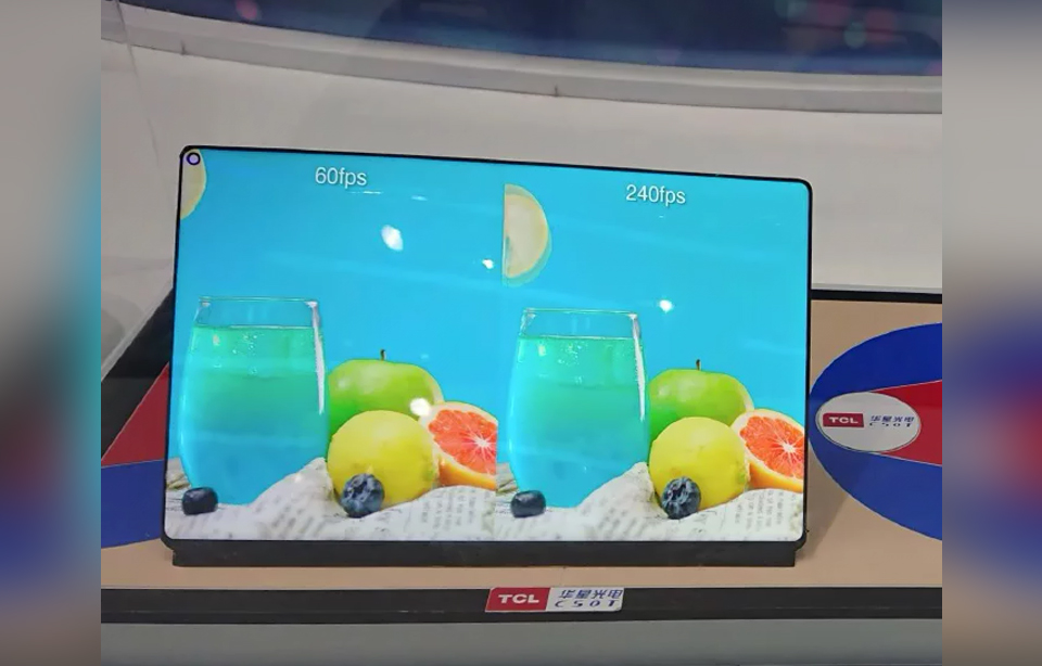 TCL WQ Gaming Tablet Display with 240Hz refresh rate and punch-hole