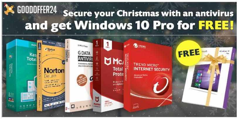 Χριστουγεννιάτικες προσφορές GoodOffer24: Έκπτωση 20% σε Antivirus με δωρεάν Windows 10 Pro