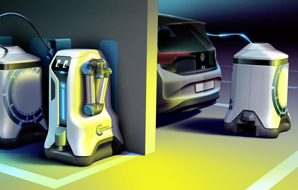 Volkswagen robot autonomously charge electric cars