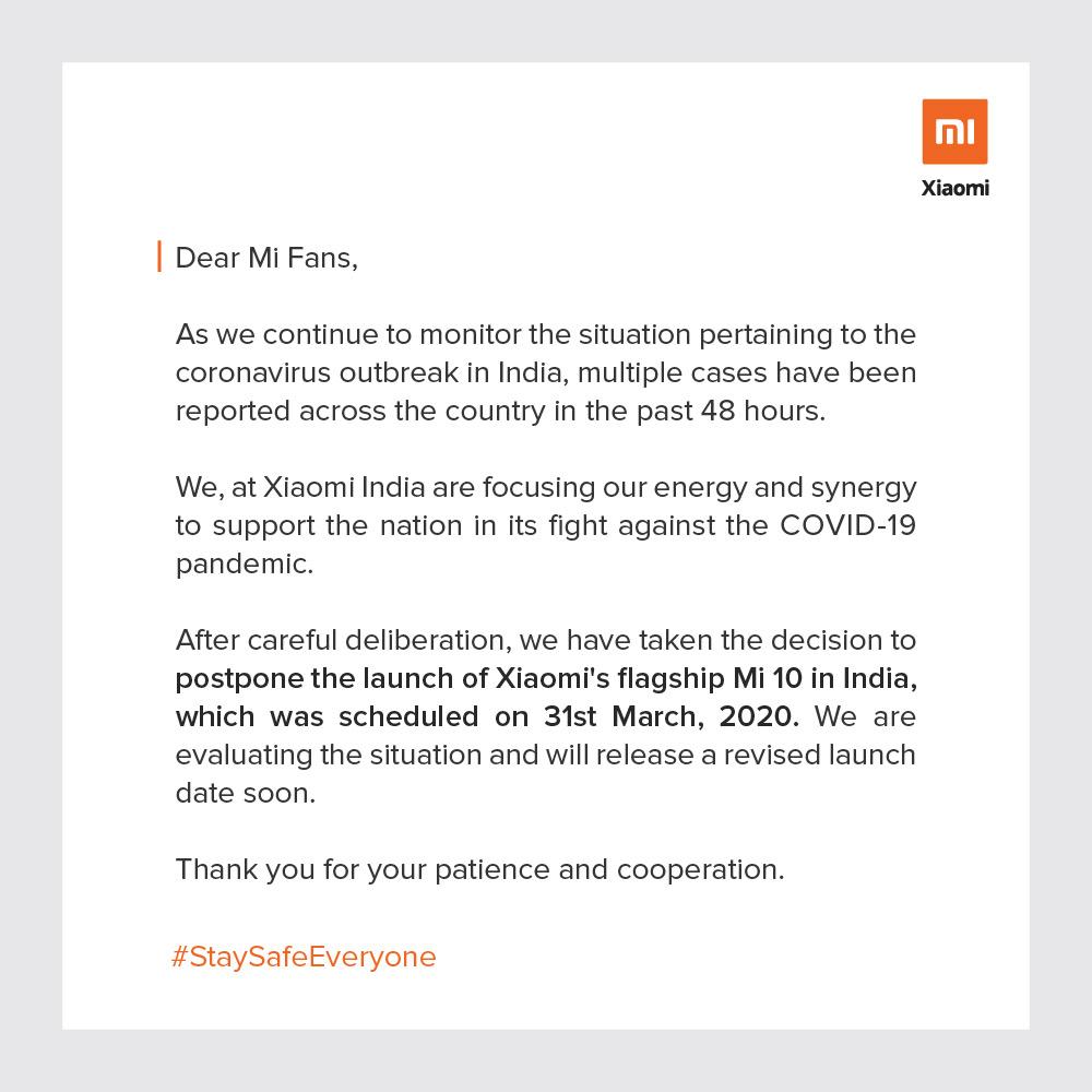 Xiaomi Mi 10: Αναβάλλει την κυκλοφορία του στην Ινδία λόγω lockdown