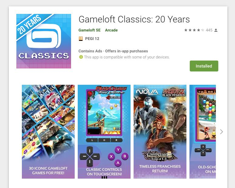 Gameloft Classics 30 free mobile games
