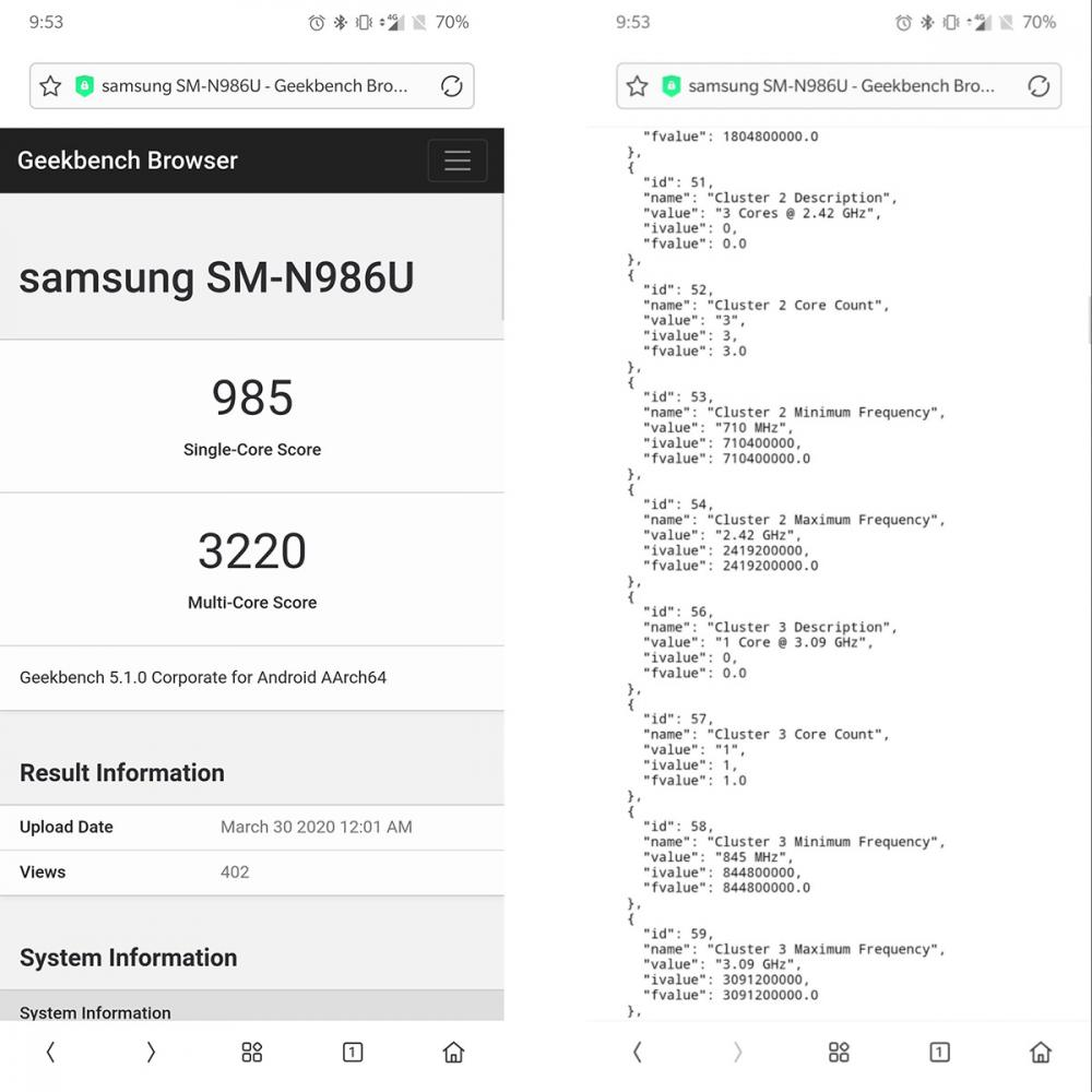 Samsung Galaxy Note 20+: Εμφανίστηκε στο Geekbench με Snapdragon 865+