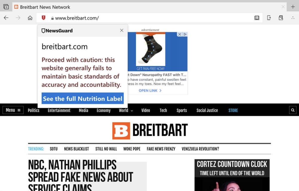 Microsoft Edge NewsGuard Fake News Free