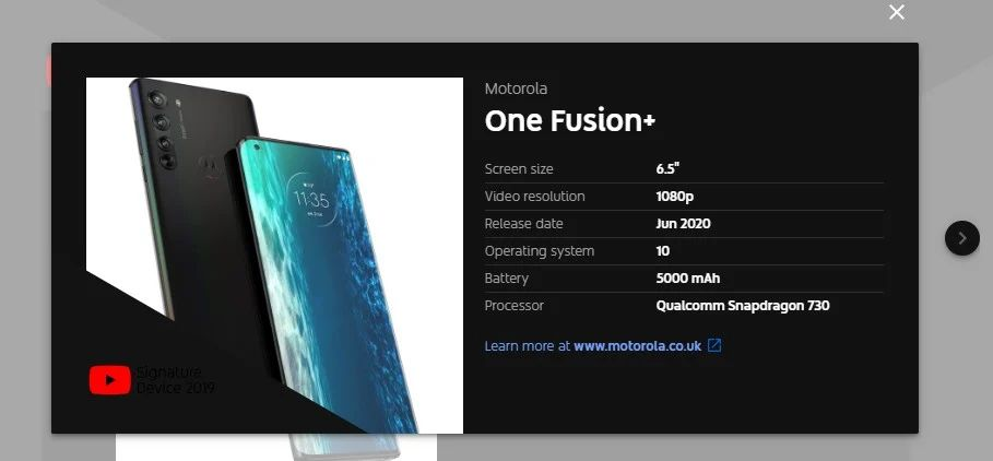 Motorola One Fusion+ Specs and Design