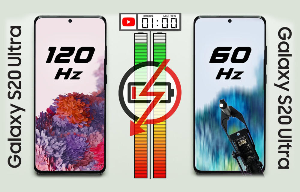 Samsung Galaxy S20 Ultra Battery Test 120Hz vs 60 Hz