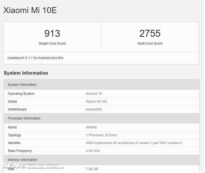 Xiaomi Mi 10E Geekbench