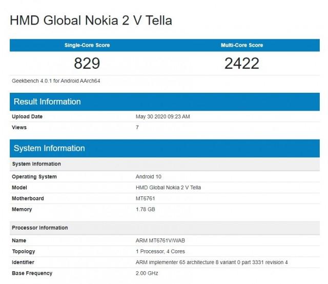 Nokia 2 V Tella Geekbench
