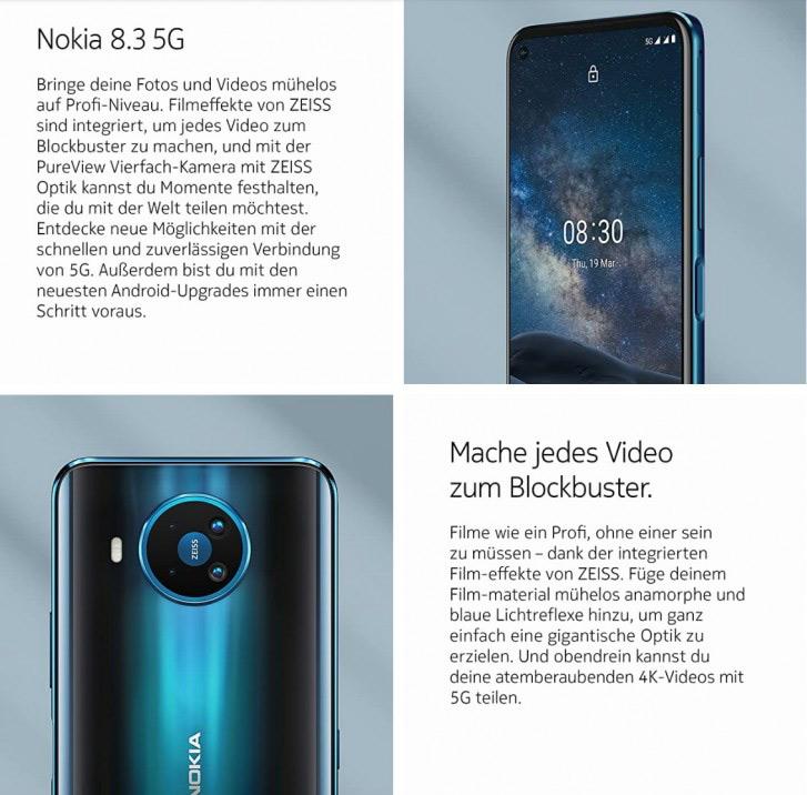 Nokia 8.3 5G: Εμφανίστηκε στο Amazon Γερμανίας,