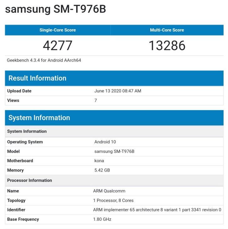 Samsung SM-T976B Geekbench