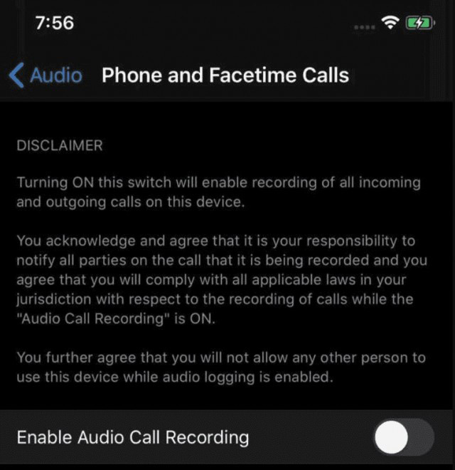 iOS 14 call and facetime recording