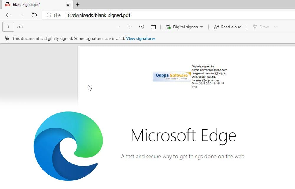 Microsoft Edge PDF Signed