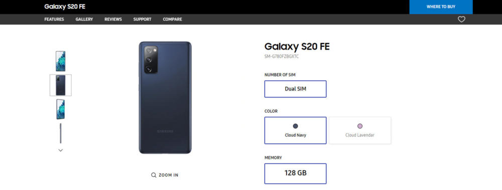 Samsung Galaxy S20 FE Reveal by Official Website