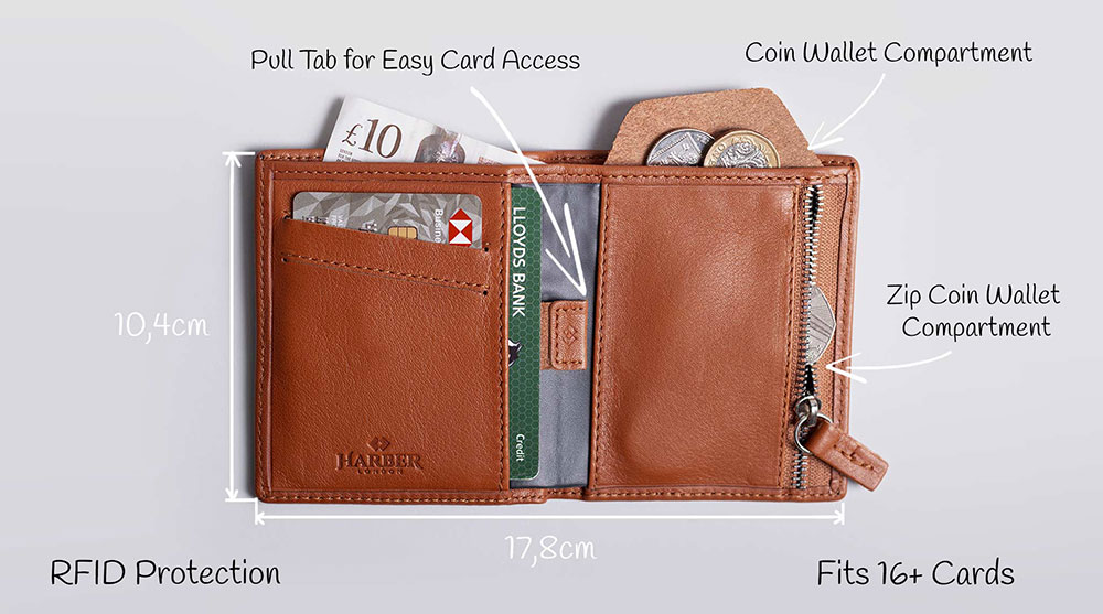 Harber London Leather Bifold Zip Wallet with RFID Protection
