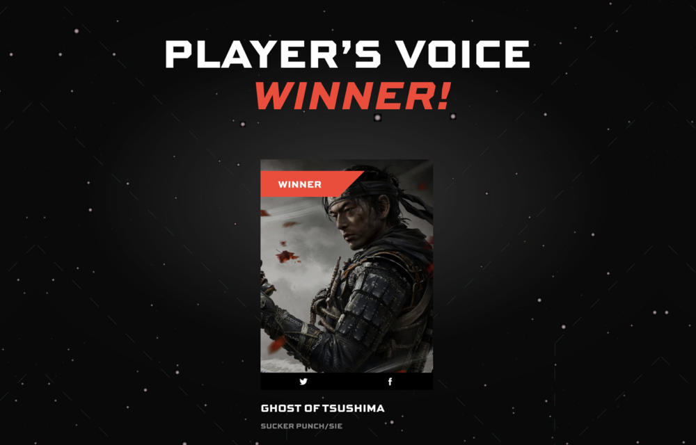 Ghost of Tsushima Player's Voice Award The Game Awards 2020