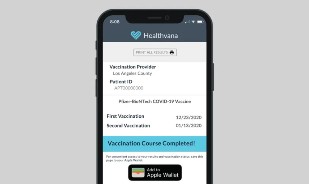 Healtvana Apple Wallet covid vaccine proof