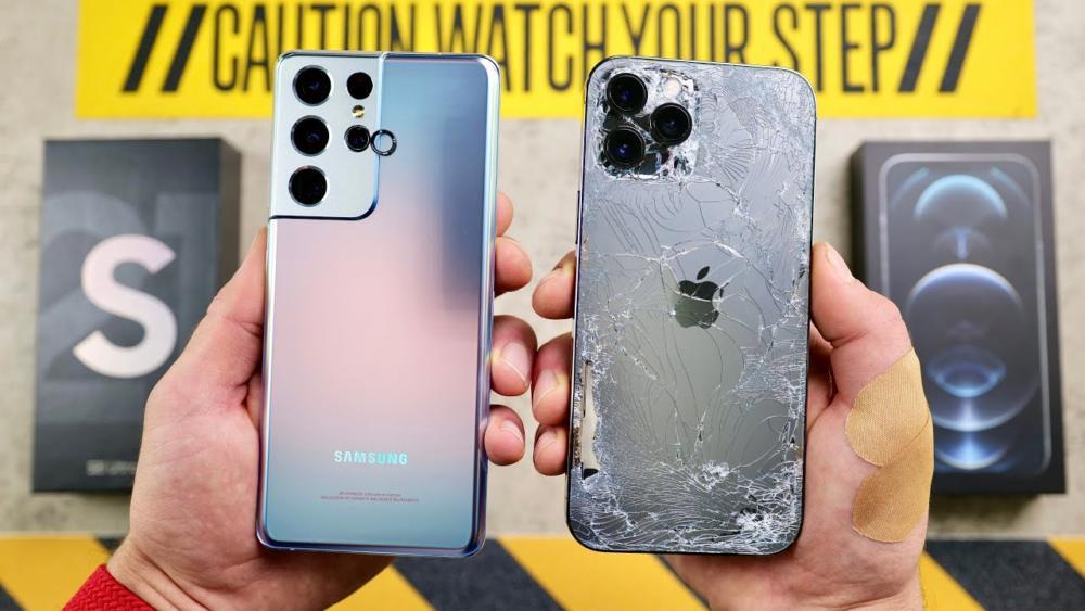 iPhone 12 Pro Max vs Galaxy S21 Ultra drop test